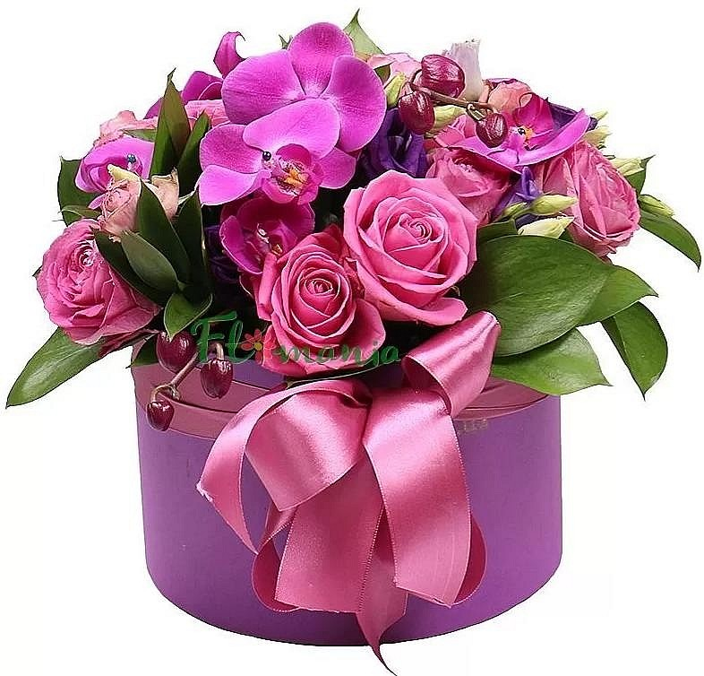 Букет из орхидей, роз и эустом